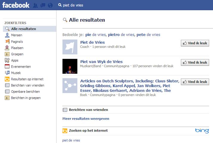 facebook zoeken stap 2