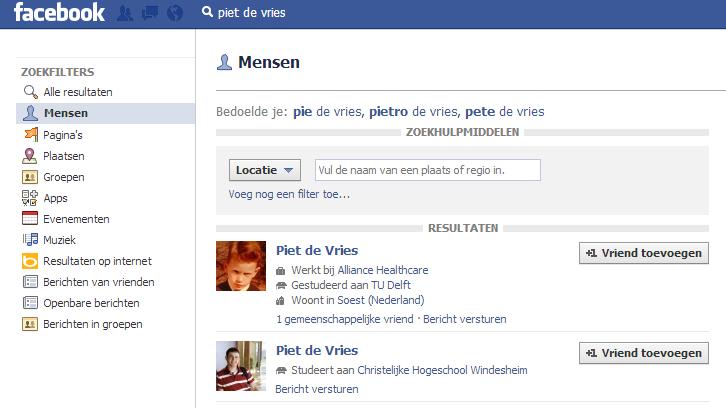 facebook zoeken stap 4